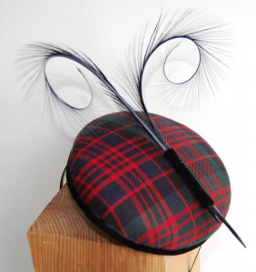Tartan Button with curled pheasant feathers