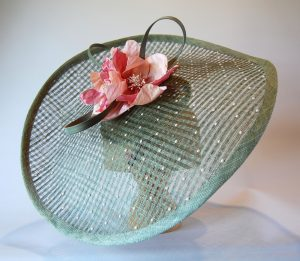 Sage Rose -a large freeform mesh headpiece with swarovski pearls and silk flower